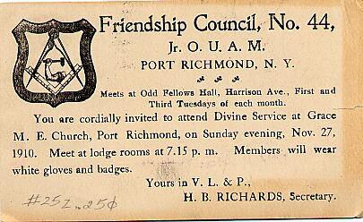 Mason's Card, 1910.