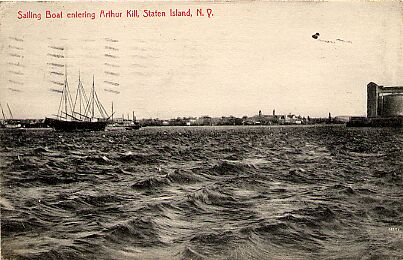 Sailboat Entering Arthur Kill, 1910.